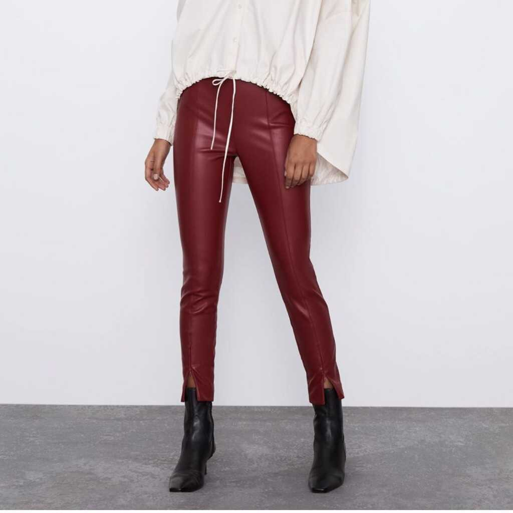 ZARA faux leather maroon fitted pants