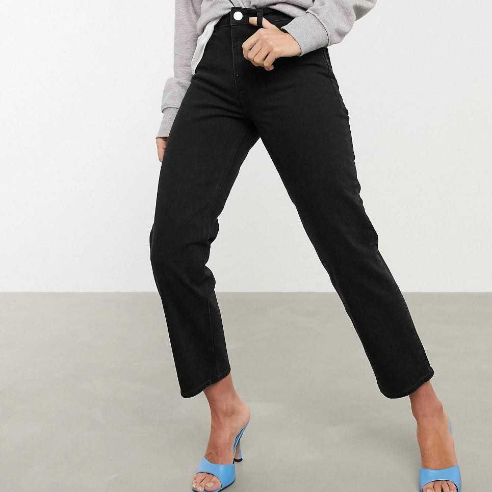 High rise stretch 'slim' straight leg jeans
