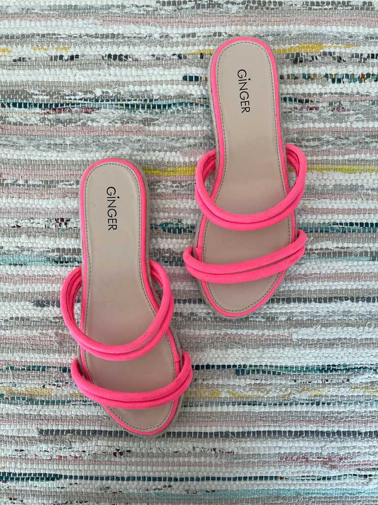 Never worn neon strappy sandals