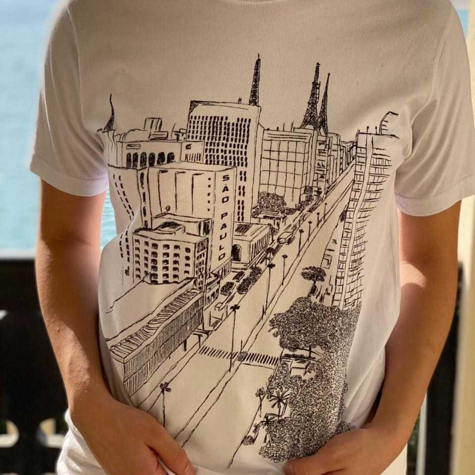 Sao Paulo city white print t-shirt