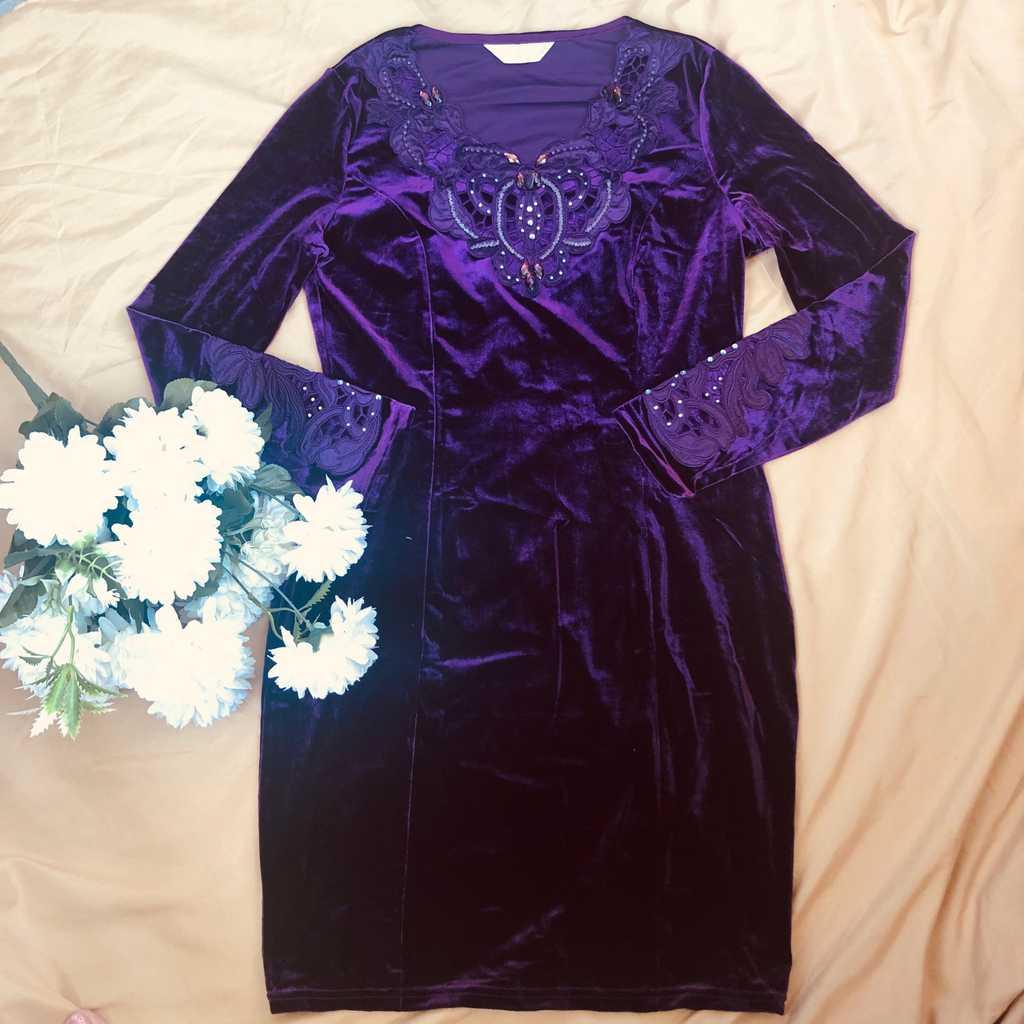 Purple gamuza dress