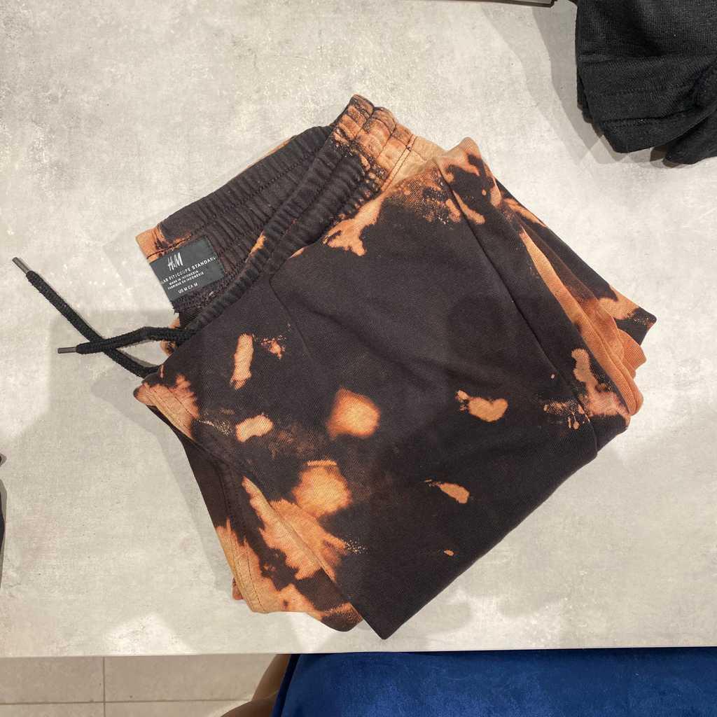 Custom acid wash tie dye black sweatpants