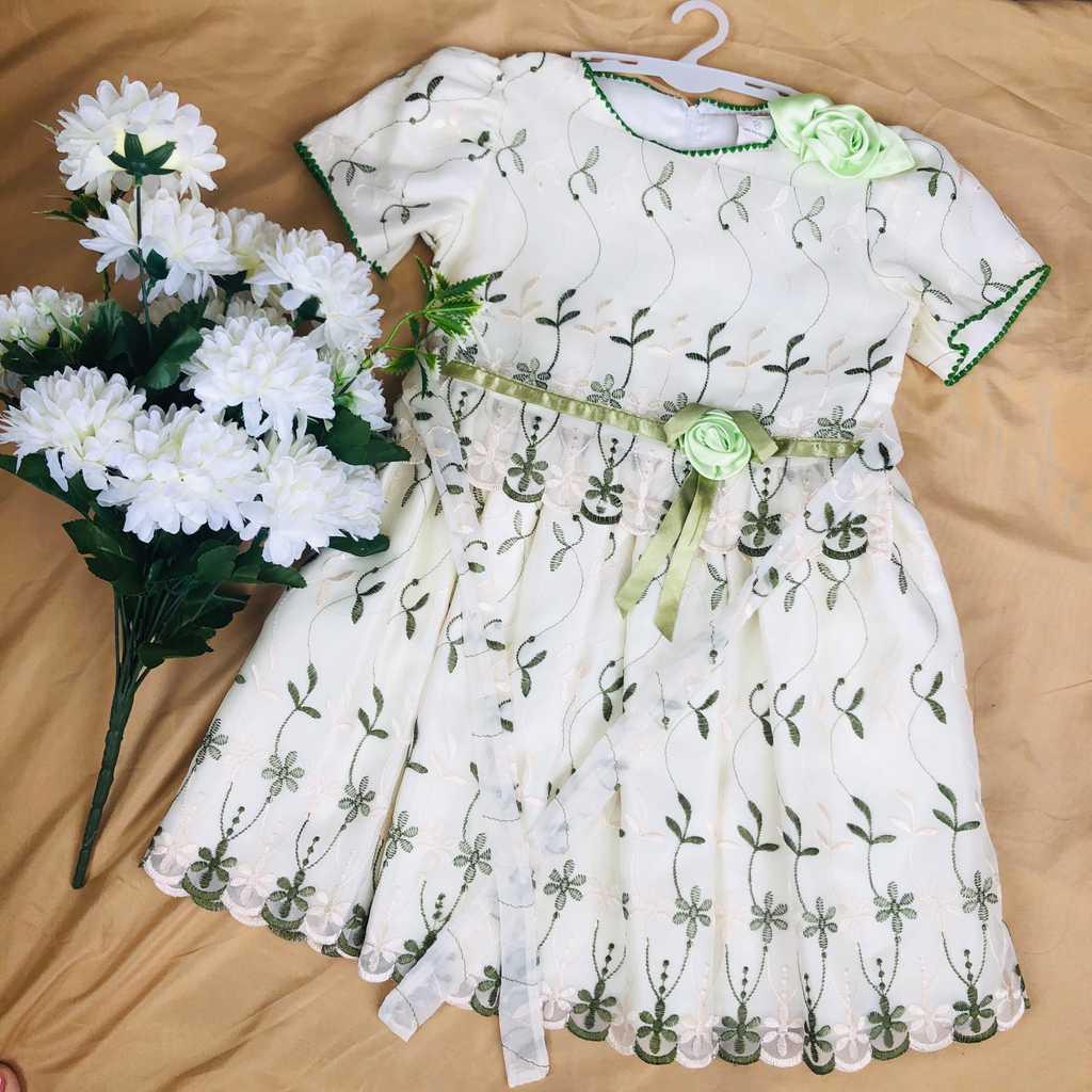 100% Polyester green white dress (3-4yrs)