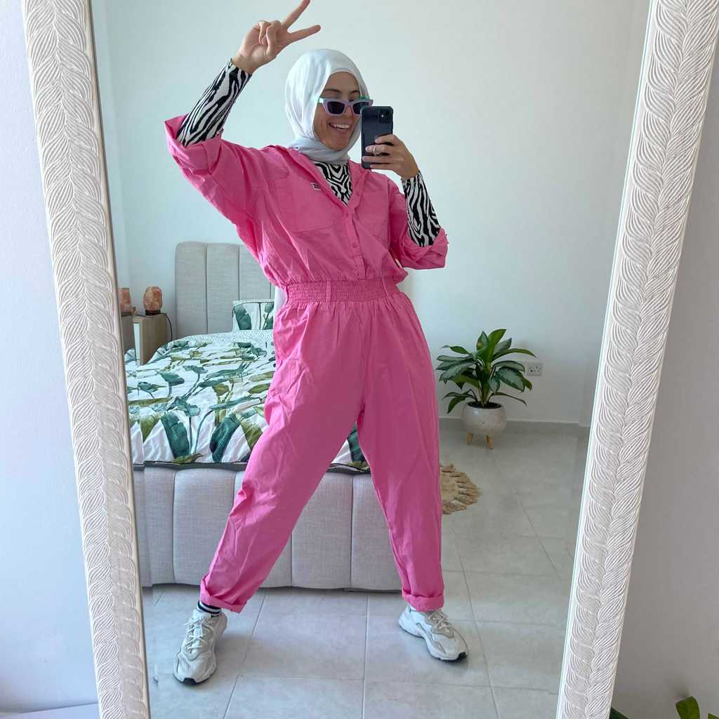 bubblegum pink boilersuit