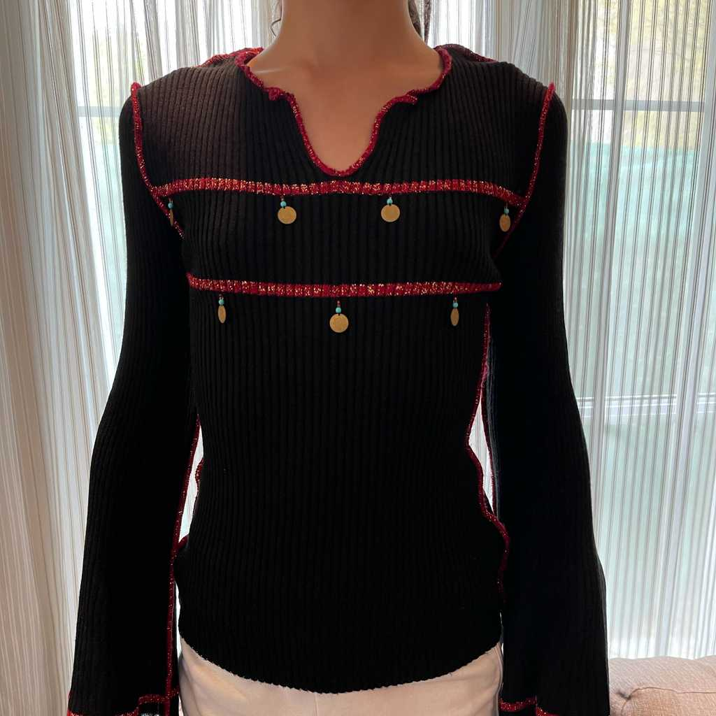 Black with red detail sweater