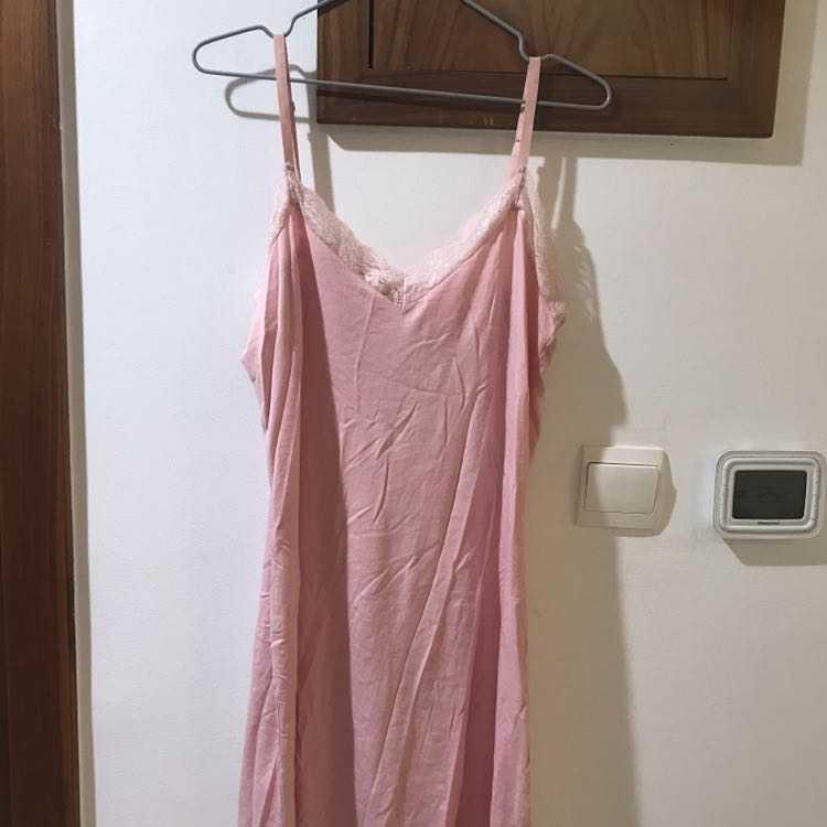 New pink cotton & Lace night dress  size 10