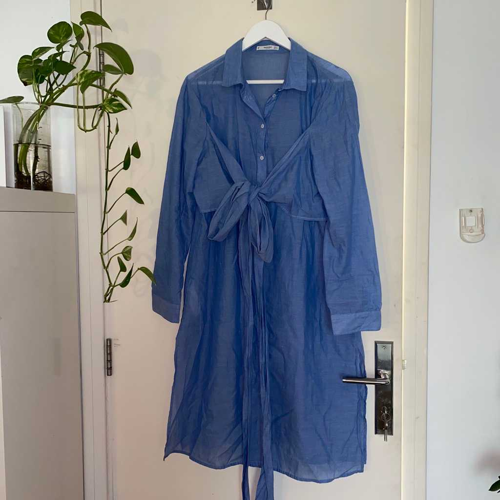 Long button up shirtdress with tie