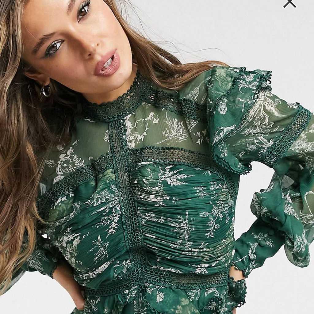 Printed green knee length dress