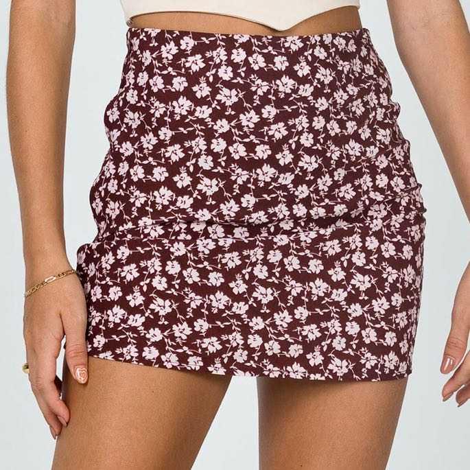 Dark Red Floral Mini Skirt