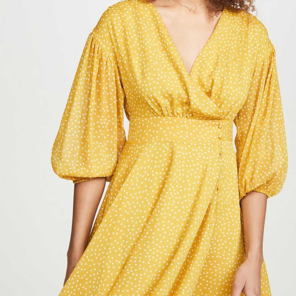 Le Rumi yellow polka dotted summer dress