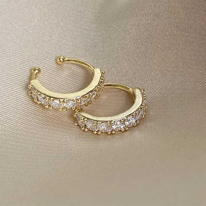 NEW zircon gold earrings 2pcs clip for eae bone