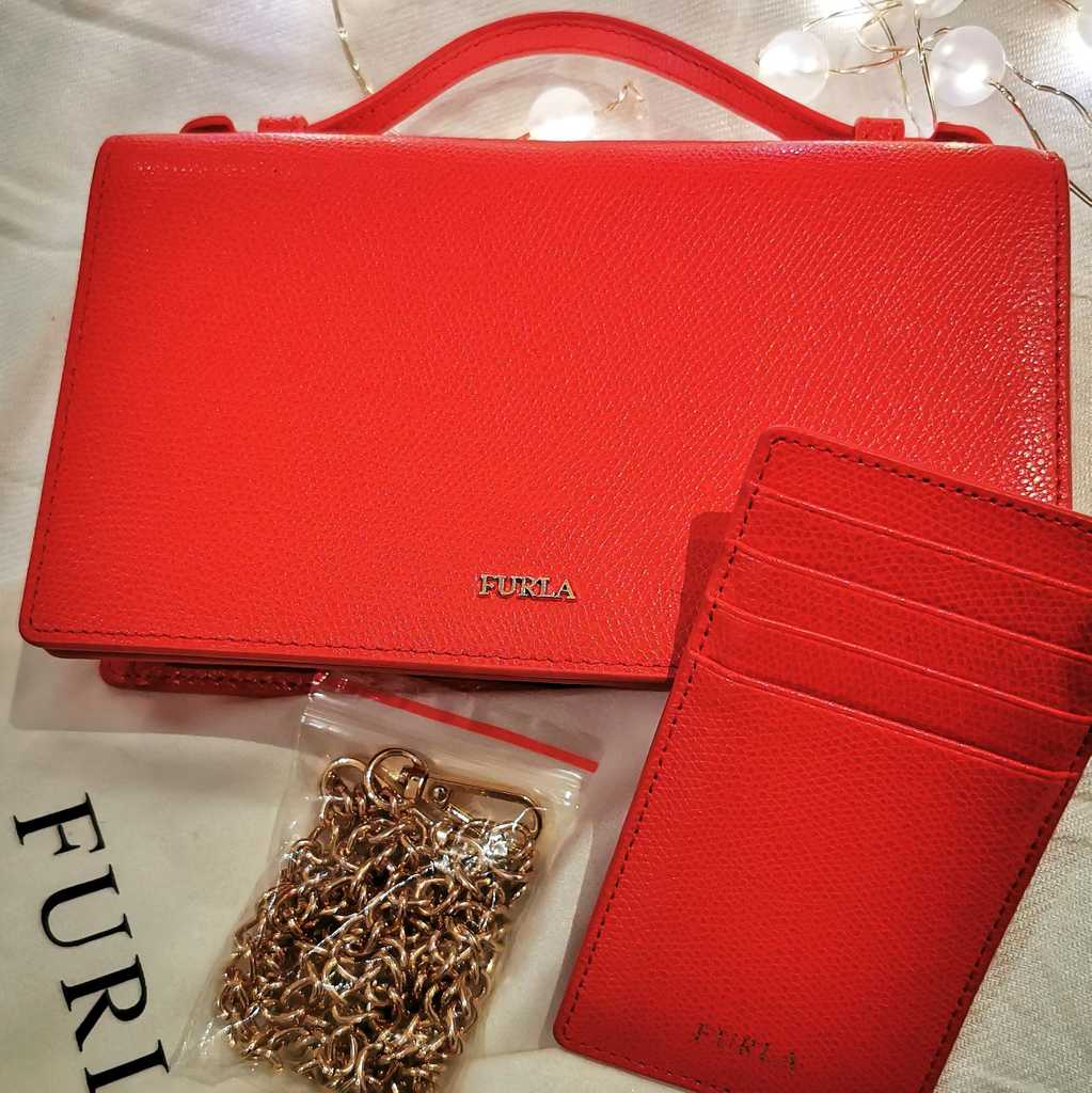 Furla Red Leather Incanto Crossbody Bag
