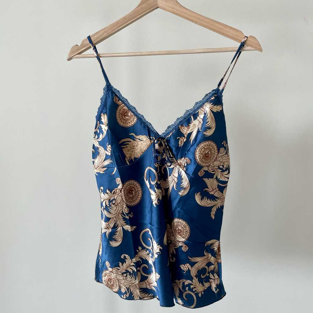 Silky navy blue top