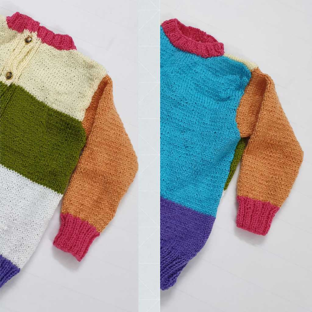 Hand knitted multicolour sweater