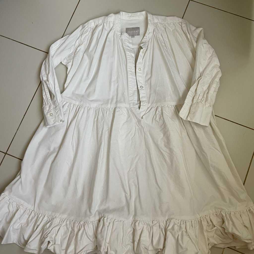 Waven volume frill dress