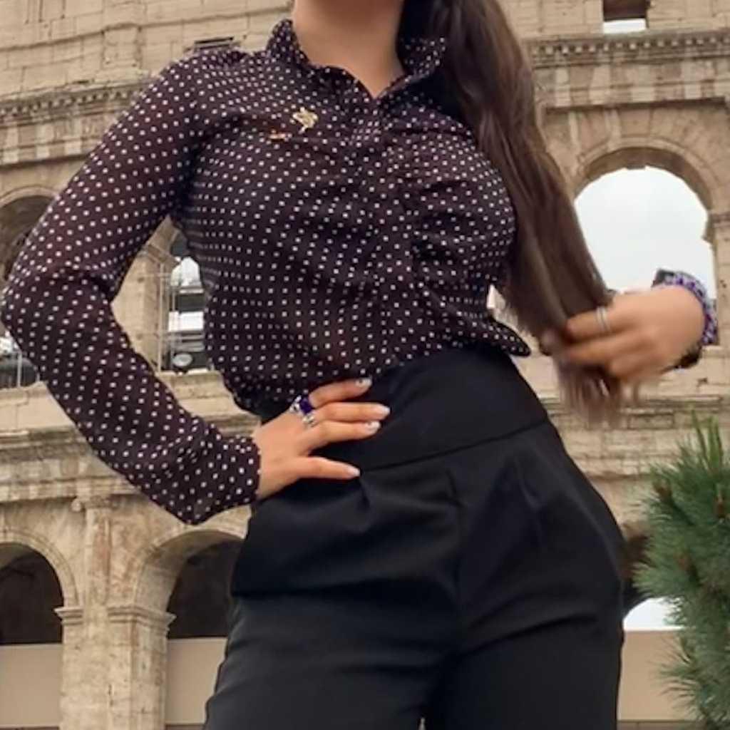 See through blouse Polka dot
