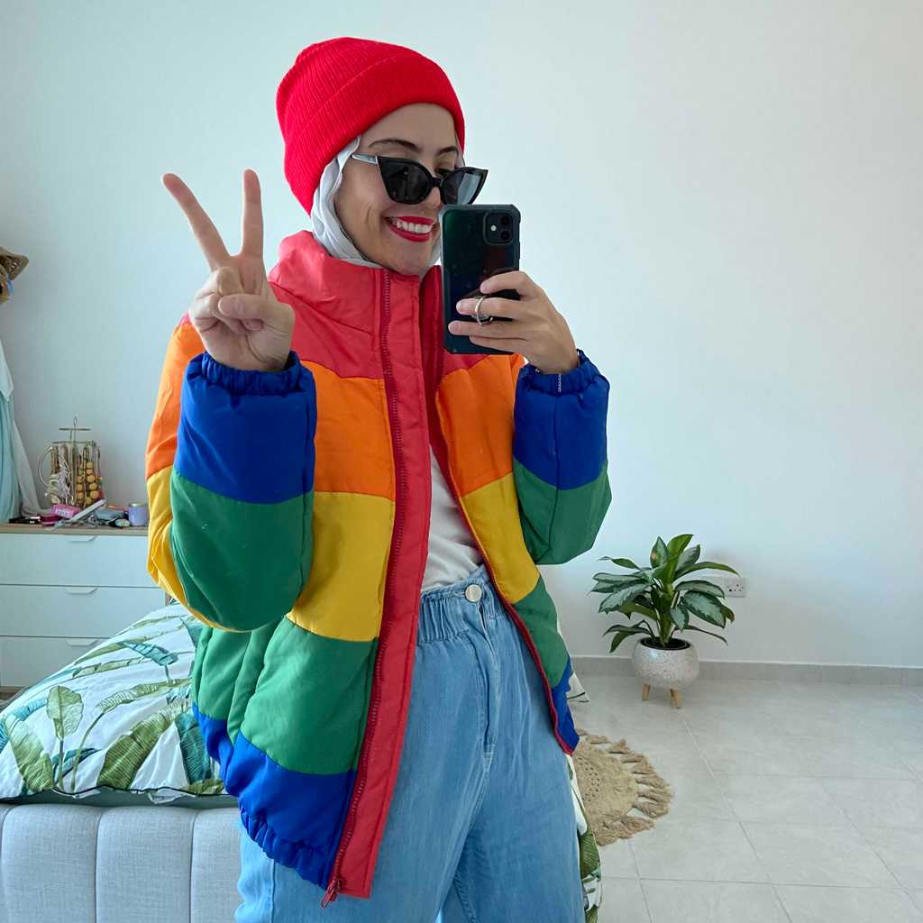 Rainbow puffer jacket 🌈