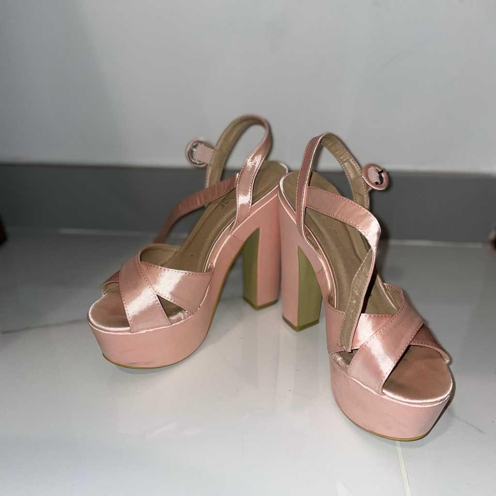 Pink sandal heels
