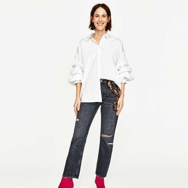 Zara blouse with ruffle sleeves