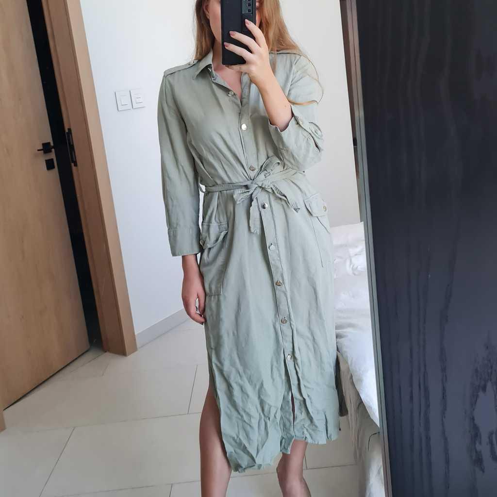 Khaki green linen/cotton mix shirt dress