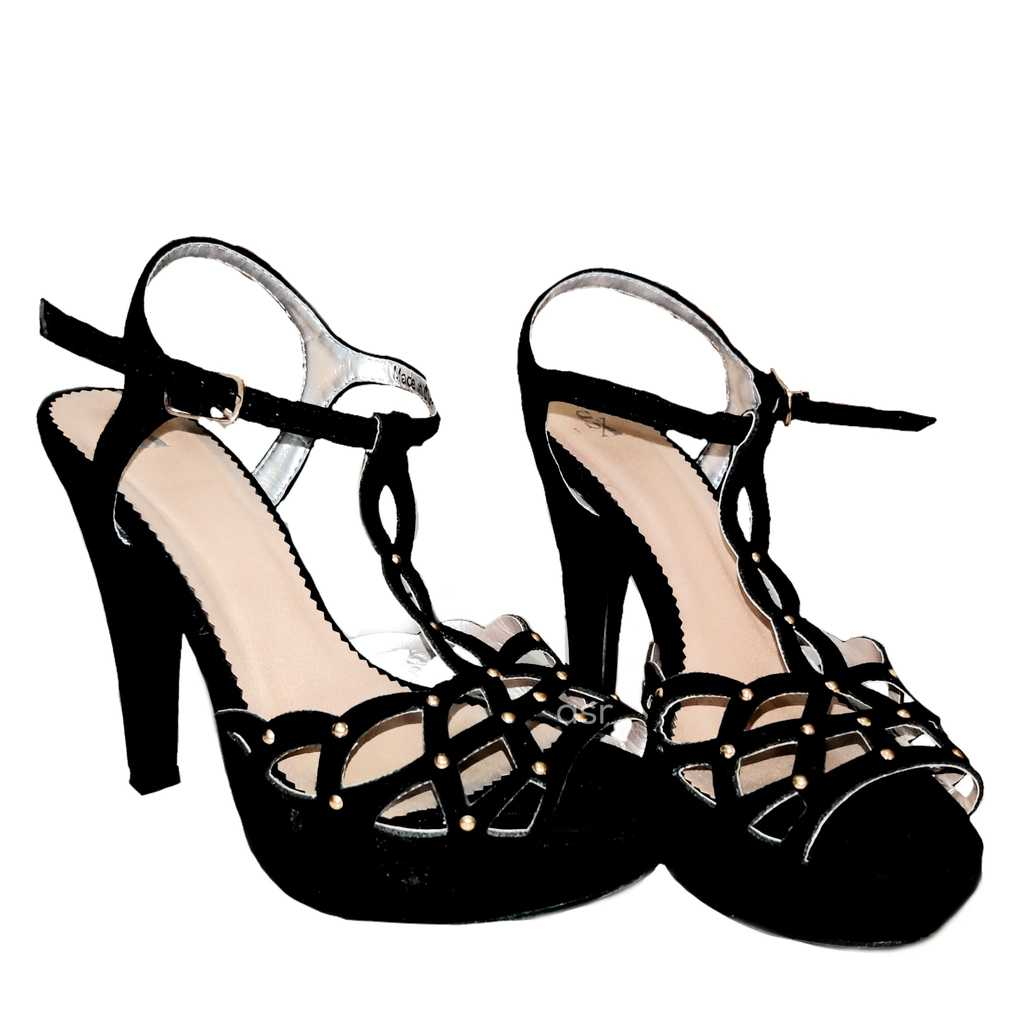 Black Suede Cut-Out Platform Stiletto with Buckle