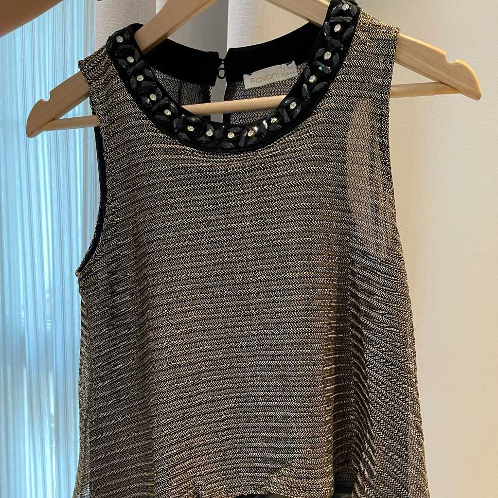 Shimmery gold and black top
