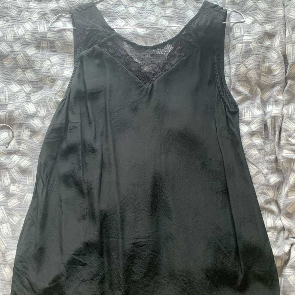 100% silk black and lace top size 38