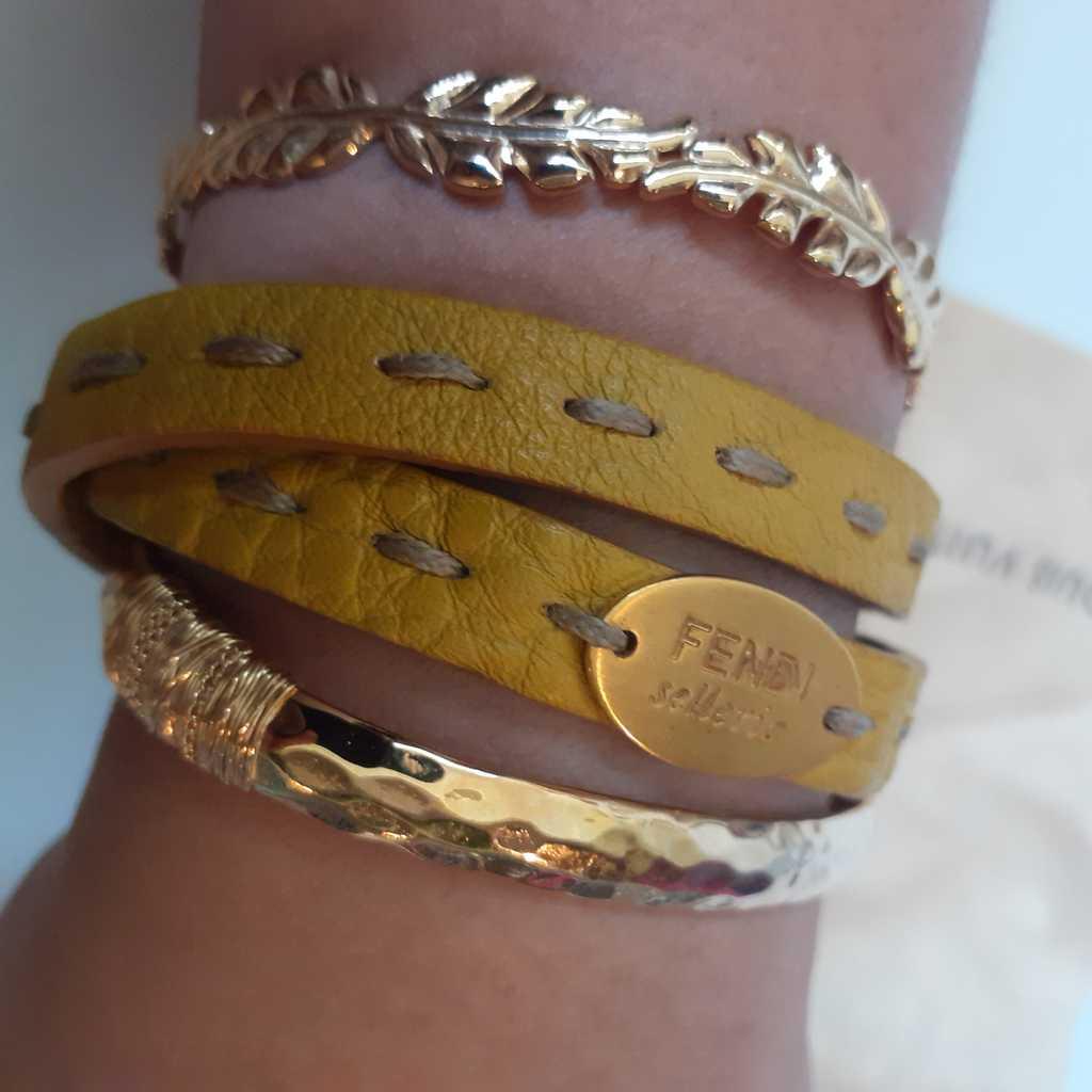 FENDI Selleria Double Wrap Yellow Leather Bracelet
