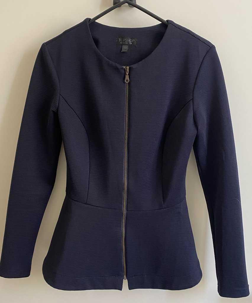 Topshop, Size 8, Navy, Peplum Jacket