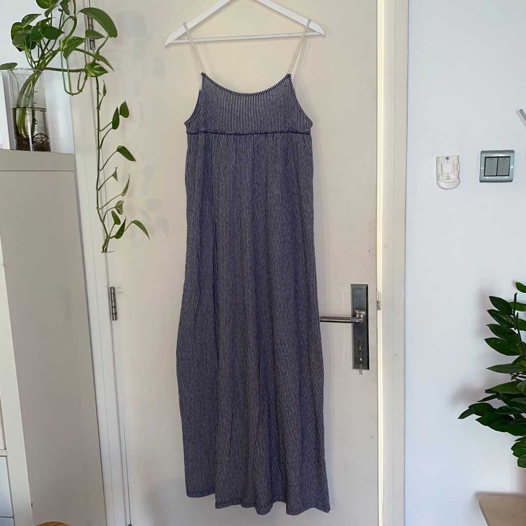 Blue/White striped jersey maxi dress