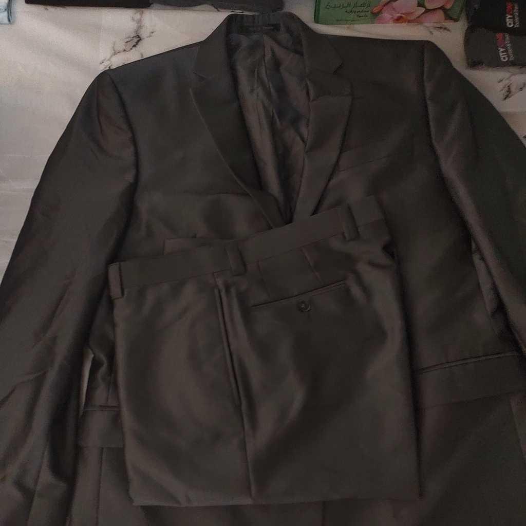 Calvin Klein Men's Slim Fit Textured Grey Suit, Brand New