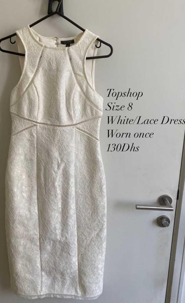 Topshop, Size 8, White/Cream Lace Dress