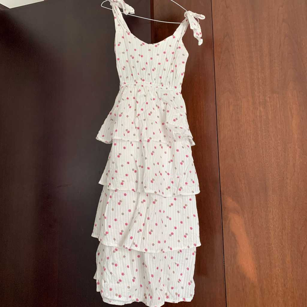 Whits dress with pink flowers. Never worn