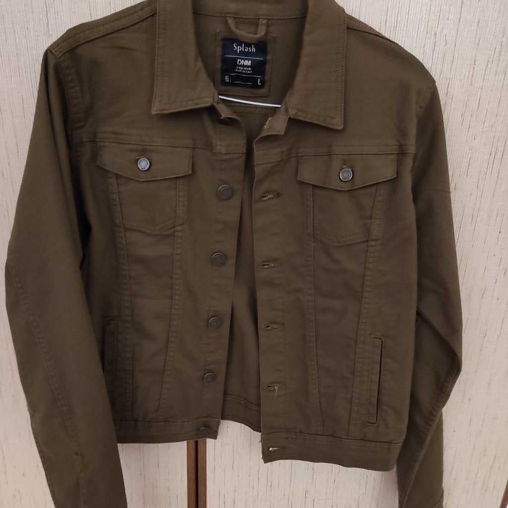 Green denim jacket