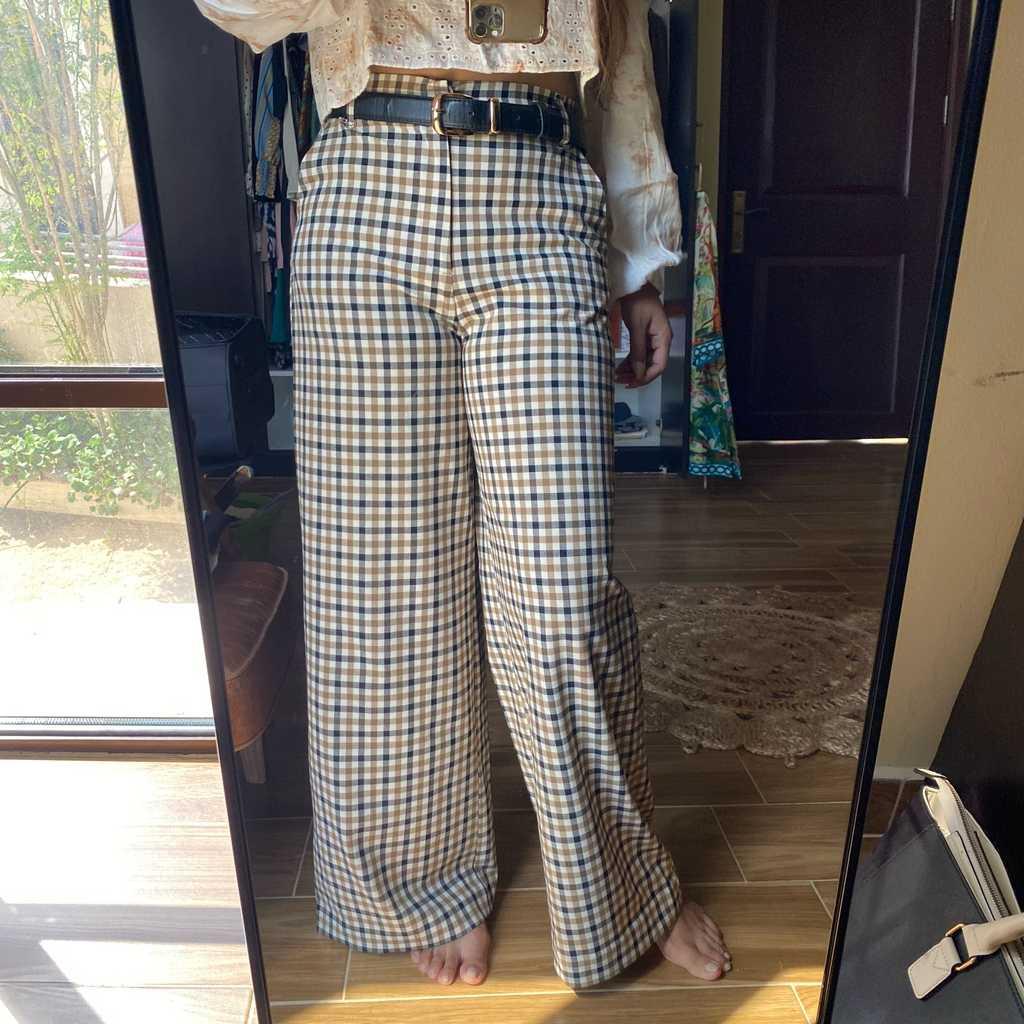 Zara checkered high-waist pants
