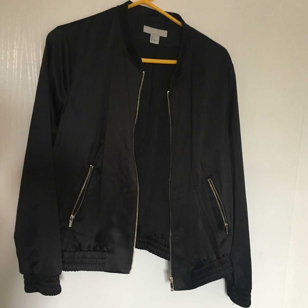 Bomber jacket with gold zipper