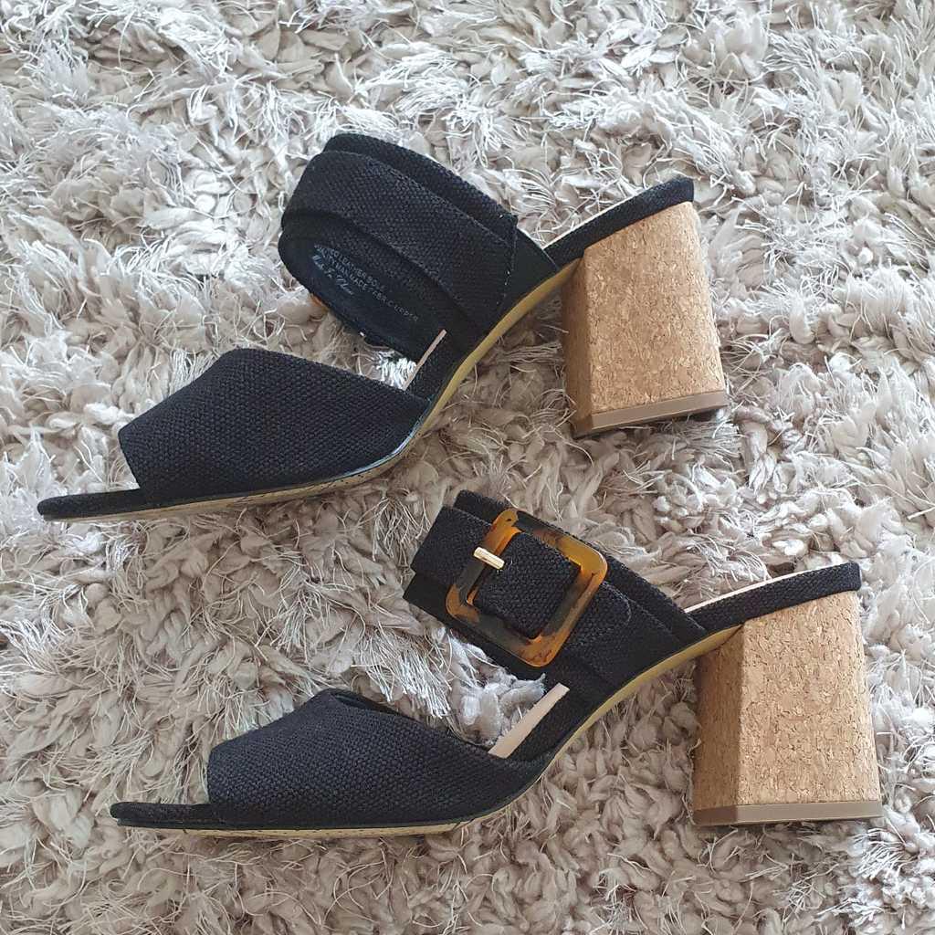 Black Sandals with Cork Heel