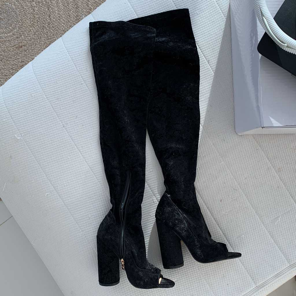 Peep toe velvet black boots brand new