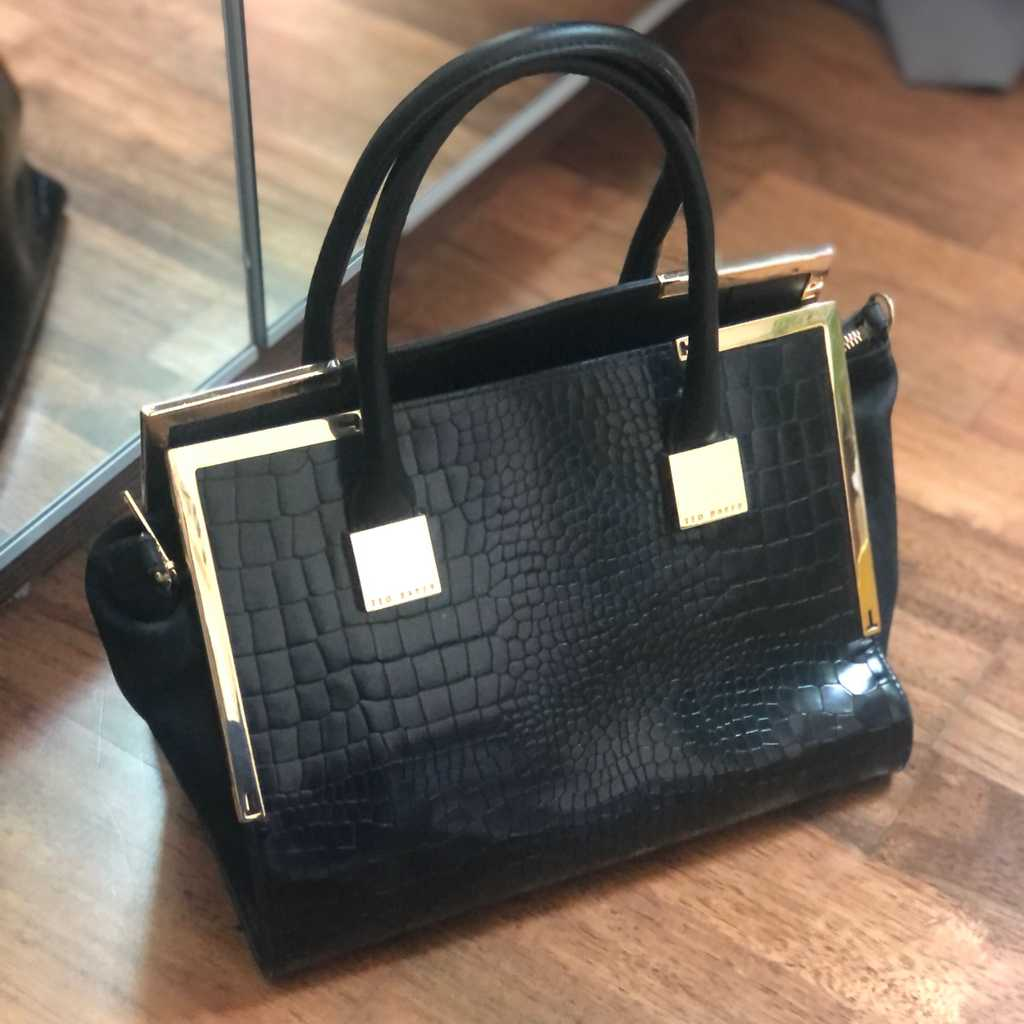 Ted Baker black croco and suede leather bag