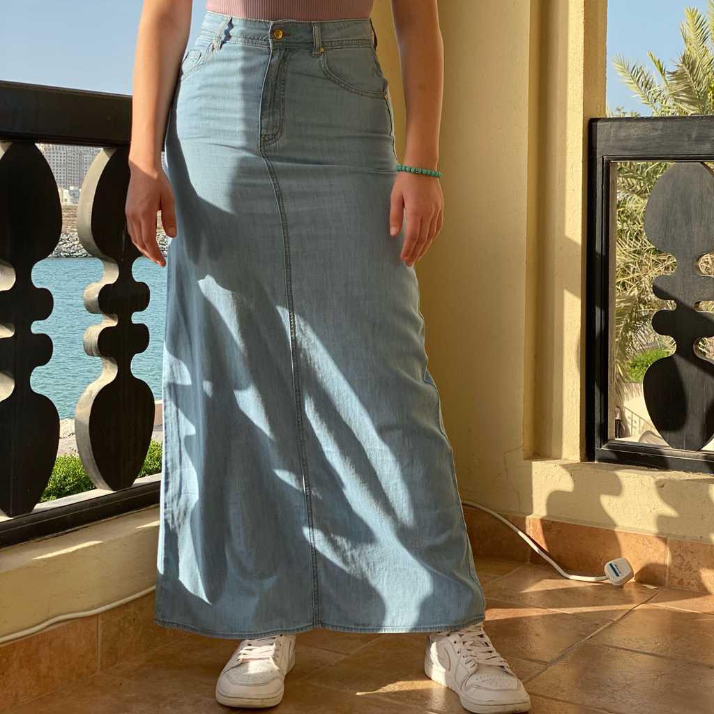 SPLASH Denim Maxi A-Line Skirt (Size 26)