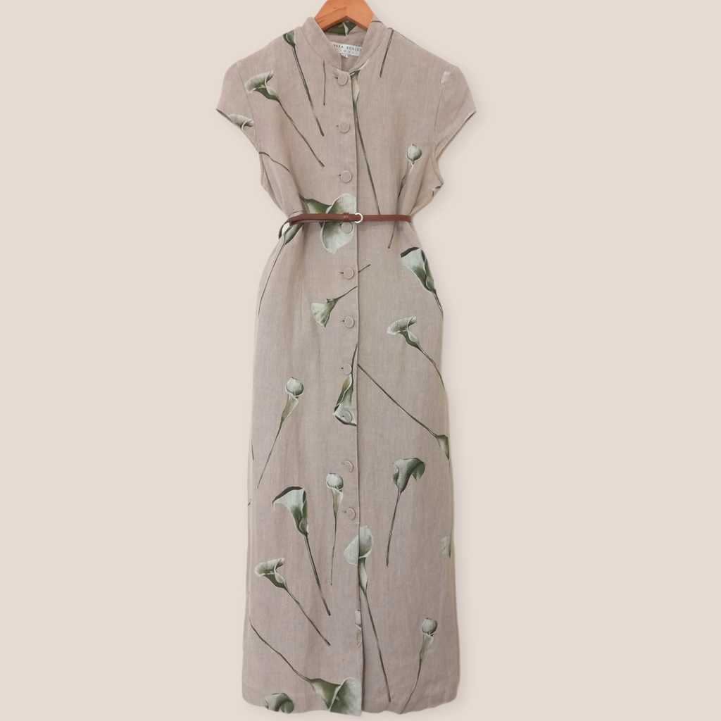 HQ linen maxi dress, size: 10 (fits M-L)