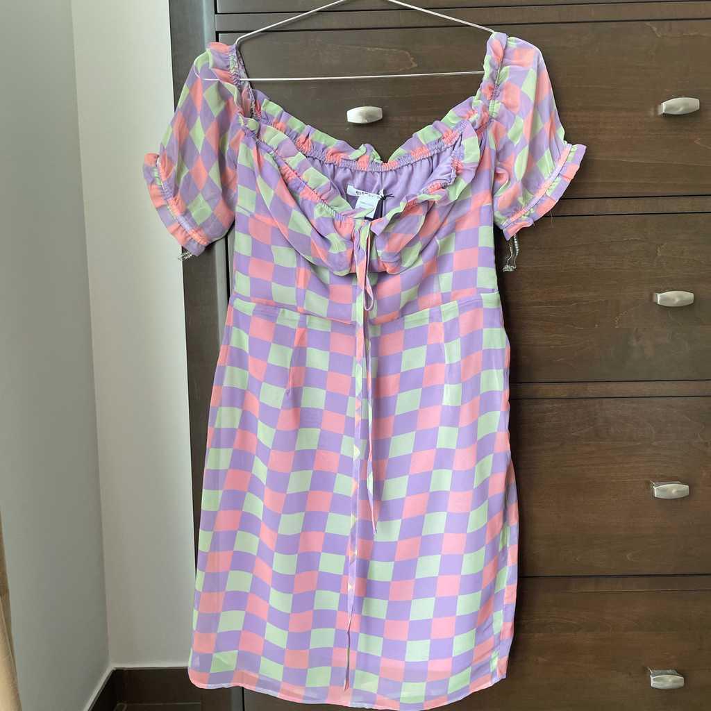 Pastel Check Print Tea Dress