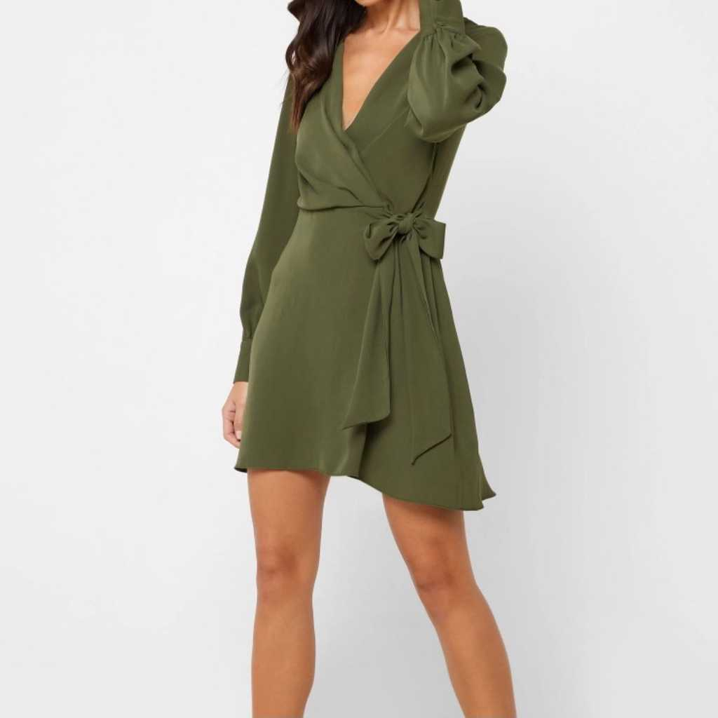 Topshop olive green side tiewrap around dress