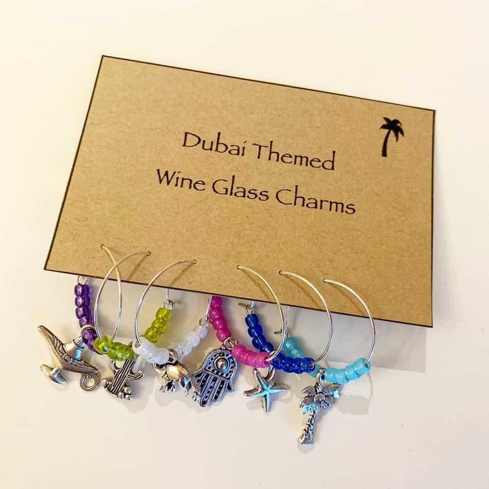 Dubai Themed Wineglass Charms set of 6