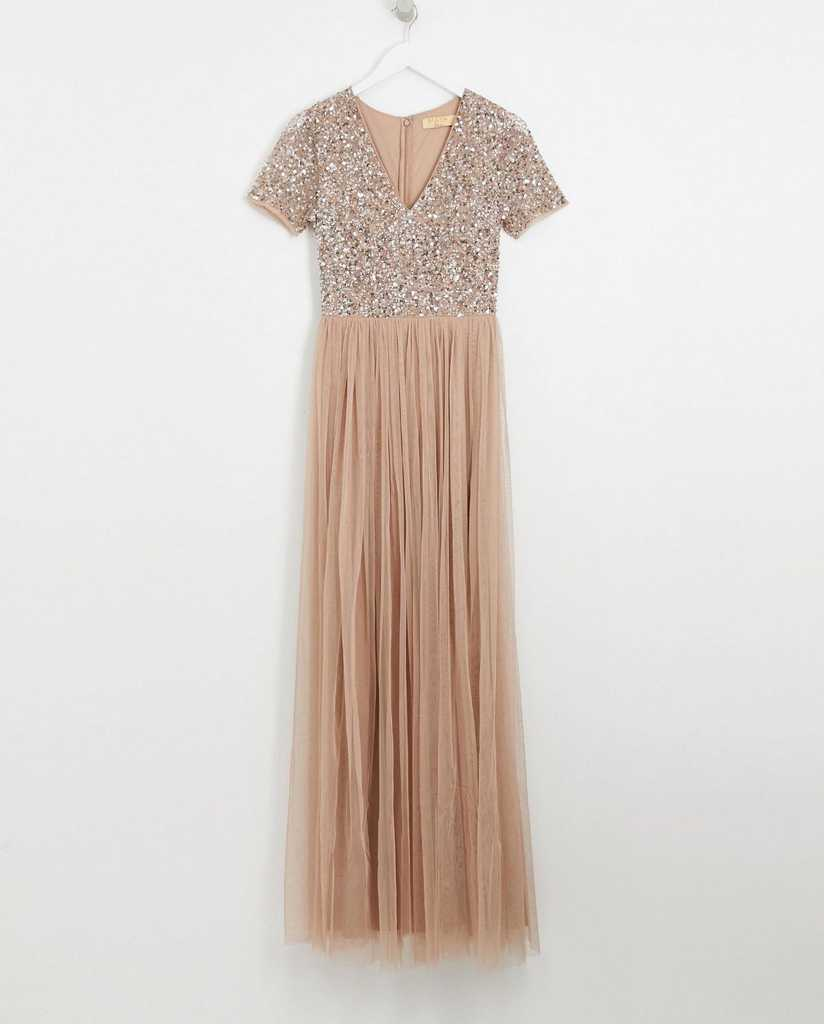 Maxi tulle dress with sequins