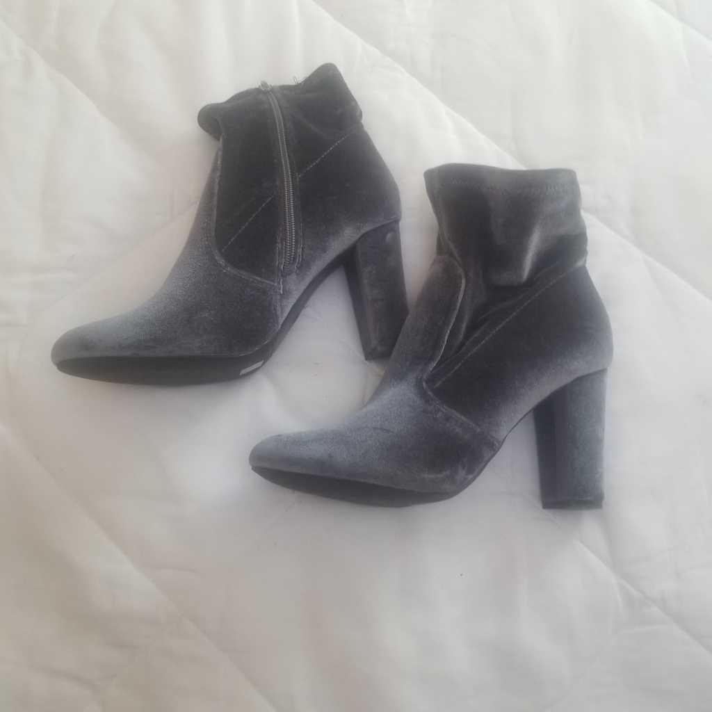 Grey  velvet ankle boots
