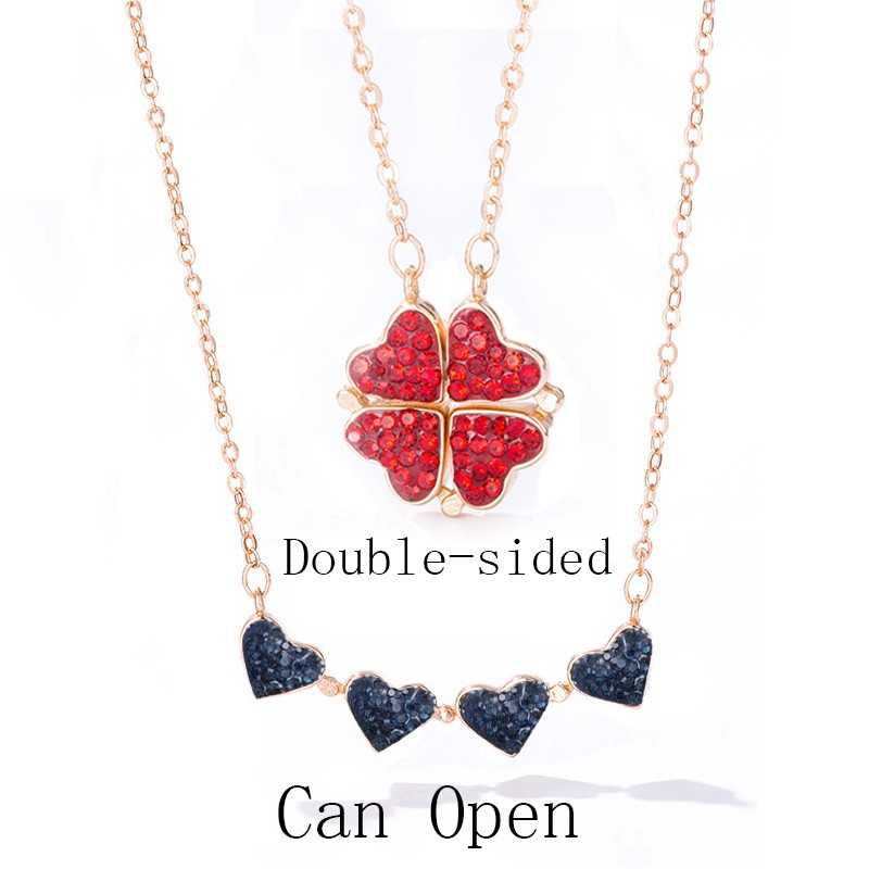 2 side heart rose gold plated necklace