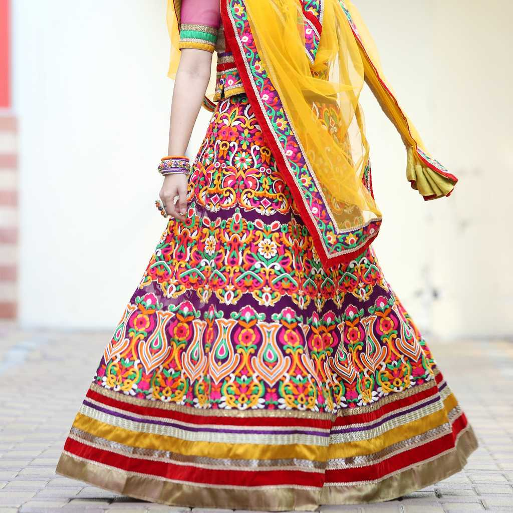 Multicolor Indian embroidery lehenga choli