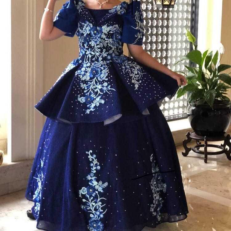 Navy Blue Elegant Ball Gown