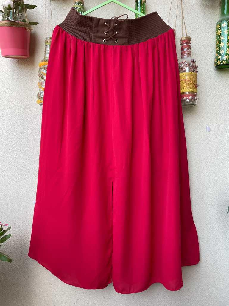 Red summer long skirt